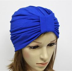 Viscose jersey turban hat for women, front knotted hat. Turban Hat, Stylish Hats, Head Accessories, Crochet Baby Booties, Cute Woman, Top Knot, Hats For Women, Royal Blue, Knots