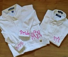 Bride and matching flower girl getting ready for the wedding shirts. @embellishthisllc Bridal Shirts, Wedding Shirts, Flower Girl Shirts, Bridal Party Getting Ready, Get Ready, Oversized Shirt, Monogram, Trending Outfits, Brides