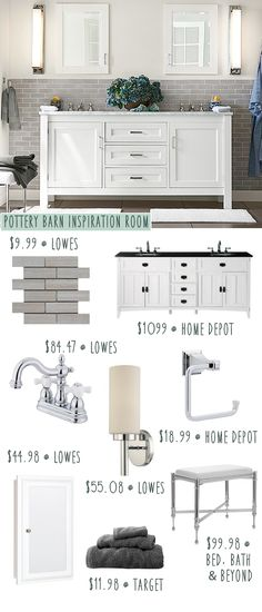 Pottery Barn bathroom on a budget! We recreated the look with items from Lowes, Home Depot & Target!