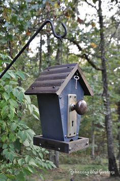 Rustic Bird-Feeder The Cafe by RebeccasBirdGardens on Etsy