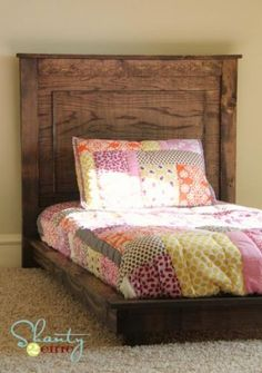 How to make platform bed inspired by Pottery Barn Kids Fillmore Platform Bed. Free easy step by step plans include diagrams, shopping list and cutting list