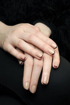 donna karan • fw2012 • beige nails and burgundy tips by deborah lippmann