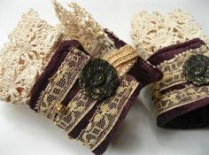 Velvet and Vintage Lace - Pair of Victorian inspired cuffs - JEWELRY AND TRINKETS - These cuffs appeared in my head yesterday morning, fully fleshed and beautiful. Cuff Jewelry, Lace Jewelry, Textile Jewelry, Fabric Jewelry, Jewelry Crafts, Handmade Jewelry, Jewlery, Fabric Bracelets, Cuff Bracelets