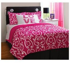 Pink bedrooms are the most popular themed bedroom idea. Now you can have your very own pink bedroom with this Pink Damask Bedding. Pink Bedrooms, Teen Girl Bedrooms, Big Girl Rooms, Bedroom Sets, Teen Rooms, Baby Rooms, Teen Bedroom, Master Bedroom, Zebra Bedding