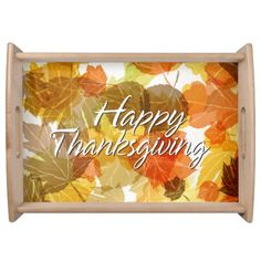 Autum Leaves 3 / Happy Thanksgiving Serving Tray