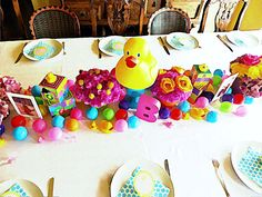 Colorful baby shower tablescape. I had a lot of fun creating this one!