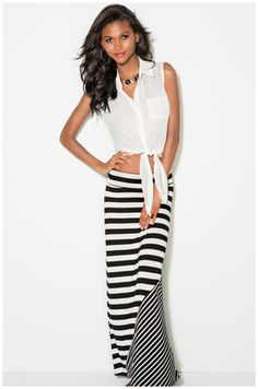 Striped maxi skirt + tied top-this would work for me.