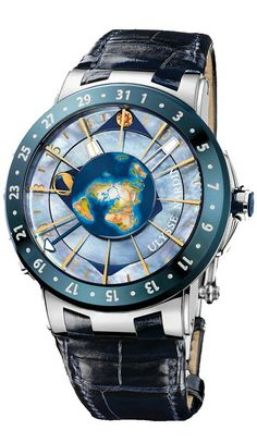 Ulysse Nardin Platinum Moonstruck - Ulysse Nardin Moonstruck Limited Edition Watches. 46mm platinum case, hand painted earth on mother of pearl dial, self-winding UN-106 movement with indication of position of Sun and Moon in relation to Earth, moon phase