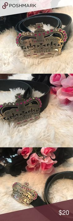 👑 Silver HUSTLER princess belt buckle HUSTLER silver princess crown removable belt buckle. crown has pink & clear rhinestone faux diamonds. the belt itself is in good shape, has some life left to it. belt is a medium/large belt buckle is in like new condition. no real scratches and no missing stones. HELLA CUTE, I've had it for quite sometime.  time to pass it on!  —- #sale #deal #clearance #gift #present  #freeship #bogo #shopping #bling   #embellish   #sparkle #hustler #larryflynt  #crown…