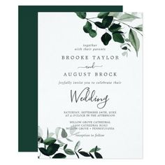 Emerald Greenery Wedding Invite with dark green moody watercolor leaves and eucalyptus with a modern woodland boho feel. Click to customize with your personalized details today. Sip And See Invitations, Rustic Invitations, Bridal Shower Invitations, Invite, Invitation Ideas, Housewarming Party Invitations, Engagement Party Invitations, Watercolor Wedding, Watercolor Leaves