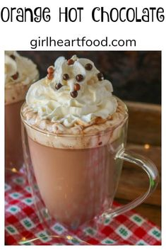 Fan of hot chocolate? This homemade orange hot chocolate recipe is a must try! It's made with some simple ingredients in minutes. Top this hot chocolate with whipped cream for one extra special treat. Sure to be a favourite on a cold day! #hotchocolaterecipe #homemadehotchocolate #orangehotchocolate Homemade Hot Chocolate, Hot Chocolate Recipes, Vegetarian Chocolate, Chocolate Desserts, Drinks Alcohol Recipes, Drink Recipes, Alcoholic Drinks, Beverages, Cocktails
