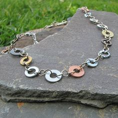 Necklace made from washers and nuts, fun and spunky, affordable