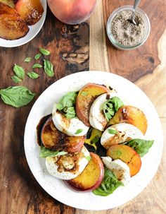 caramelized peach caprese with smoked sea salt I howsweeteats.com
