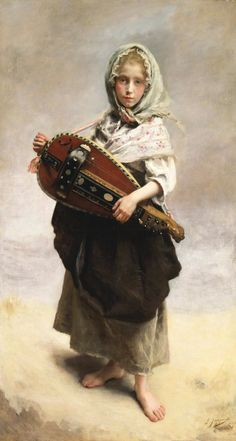 Gustave Jean Jacquet (1846-1909) Girl Minstrel Oil on canvas 1881  To see more works by this artist please visit us at: https://www.artrenewal.org/pages/artist.php?artistid=425  Share your favorite old master works: http://www.pinterest.com/ArtRenewal/share-your-favorite-old-master-works/