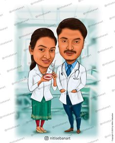 Couple Doctors caricature, Dentist caricature, Doctor caricature, Physician caricature, Custom Caricatures illustration from photos, Save the date, Indian caricature, Caricature Wedding Gifts, Caricature Invite, guests sign in board, India Wedding, Kerala wedding, nitisebanart Wedding Caricature, India Wedding, Caricatures, Kerala, Doctors, Invite, Wedding Gifts, Couple, Sign