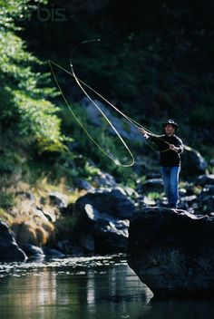 Fly Fisher casting his rod
