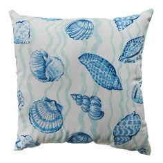 Cotton throw pillow with a multicolor sea shell motif. Product: PillowConstruction Material: Cotton cover and recycled polyester fiber fillColor: Blue and tealFeatures: Knife edgeSewn seam closureInsert included Dimensions: x and Care: Spot clean only
