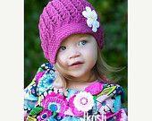 Crochet Visor Beanie With Flower -   Cute!