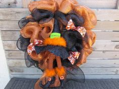 "24"" Halloween Wreath- Witch Wreath- Black and Orange Deco Mesh Wreath- Witch's Hat Wreath- Witch's Shoes Wreath- Witch Is In Wreath- Witch"