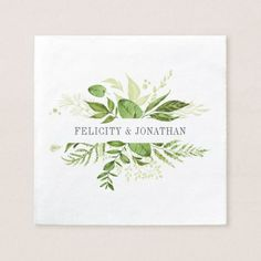 Shop Watercolor Greenery Floral Garden Foliage Wedding Napkins created by PrintablePretty. Personalize it with photos & text or purchase as is! Watercolor Leaves, Pink Watercolor, Watercolor Wedding, Watercolor Cards, Watercolor Plants, Watercolour Painting, Botanical Wedding, Floral Wedding, Botanical Art