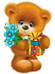 Cute Bunny Cartoon, Bear Cartoon, Happy Birthday Wishes Cards, Birthday Greetings, Cute Animal Drawings, Cute Drawings, Dog Emoji, Teddy Bear Images, Cute Clipart