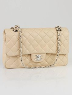 146bcf40d10 Authentic Chanel Beige Clair Quilted Lambskin Leather Medium Classic Double  Flap Bag at Yoogi s Closet.