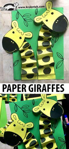 Giraffe Crafts, Ocean Animal Crafts, Animal Crafts For Kids, Paper Crafts For Kids, Animals For Kids, Hobbies And Crafts, Preschool Crafts, Fun Crafts, Art For Kids