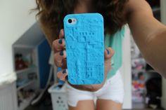 blue iphone case. ♡