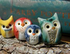 Staghorn the Green Clay Owl: Harry Potter Inspired Owlery Miniature