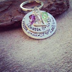 Family Name Keychain  Birthstone Keychain  by SweetAspenJewels, $24.00