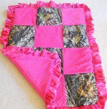 Mossy oak camo camoflauge minky comforter blanket bedding hot pink baby girl