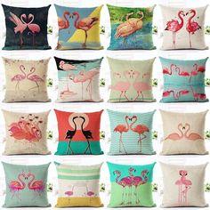 Flamingo Printed Throw Pillow Fun Cushion Cover Home Decor