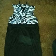 Dress White, blue, black dress. Knee length.  Worn once. Has pockets. brannan Dresses