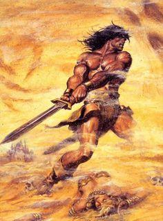m Barbarian Sword Wilderness desert Entropia earl norem savage sword of conan Marvel Comics, Conan Comics, Fantasy Anime, Dark Fantasy, Frank Frazetta, Fantasy Warrior, Larp, Conan The Destroyer, Conan The Barbarian