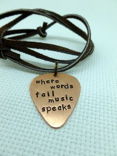 Hand Stamped Copper Guitar Pick  Mens Necklace by SnappinPicks, $18.00