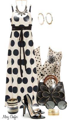 "Love love love the ""edginess""polka dot maxi dress outfit idea bmodish Fancy Maxi Dress, Polka Dot Maxi Dresses, Maxi Outfits, Summer Outfits, Cute Outfits, Cute Dresses, Casual Dresses, Modest Fashion, Beautiful Outfits"