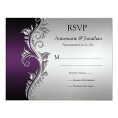 #Vintage Purple Black and Silver Ornate Swirls RSVP Card - #weddinginvitations #wedding #invitations #party #card #cards #invitation #vintage