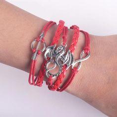 NP30 -Men Leather Bracelet Vintage Punk Antique Silver Dragon Bracelets Charm for Women