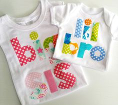 Big Sister Little Brother Tshirt and Onesie Set by LilBirdieShop