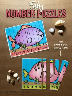Fishy number sequencing puzzles for preschool, pre-k, and kindergarten. Perfect for your ocean theme! Fish Activities, Kindergarten Activities, Math Literacy, Maths Eyfs, Preschool Themes, Preschool Classroom, Water Theme Preschool, Ocean Projects, Homeschool Kindergarten