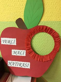 Yerli malı Fall Crafts, Diy And Crafts, Crafts For Kids, Paper Crafts, Healthy Schools, Fruit Crafts, Red Day, School Decorations, Preschool Activities