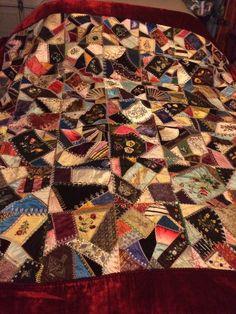Museum quality 1883 silk Victorian crazy quilt