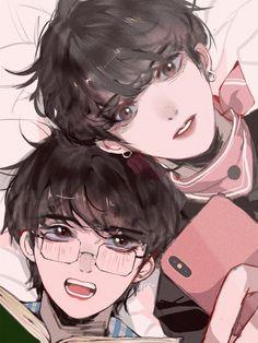 Vkook/Taekook Fanart - This is so pretty? Vkook Fanart, Fanart Bts, Bts Chibi, Taekook, Anime People, Anime Guys, Kawaii, Boy Band, Kpop Drawings