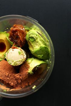 CREAMY, amazing, nutritionally dense Chocolate Avocado Pudding, sweetened with banana and dates!