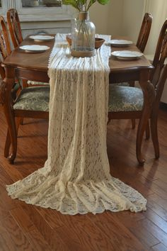 12 Ft Ivory Lace Table Runner 40 Wide By 144 Long / By LolaAndBea