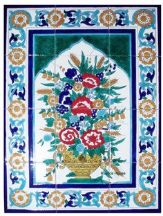 Handcrafted Tile Mural Morocco Style Flowers