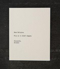 religion/science. letterpress card. 274 by shopsaplingpress