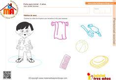 Actividad a realizar: Hábitos de aseo. Colorea los útiles de limpieza que necesita el niño para asearse.. Ficha para niños de 3 años