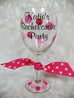 Personalized Bachelorette Party Wine Glass $21.20