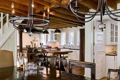 lighting, drafting table for island, low ceilings with exposed beams